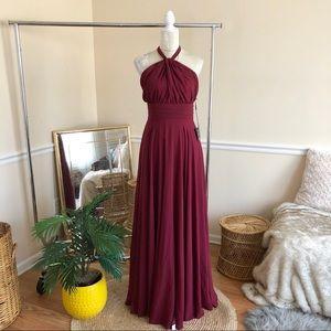 Lulu's Chiffon Halter Maxi Dress Burgundy M